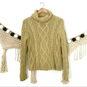 White + Warren Mustard Cable Knit Chunky Sweater